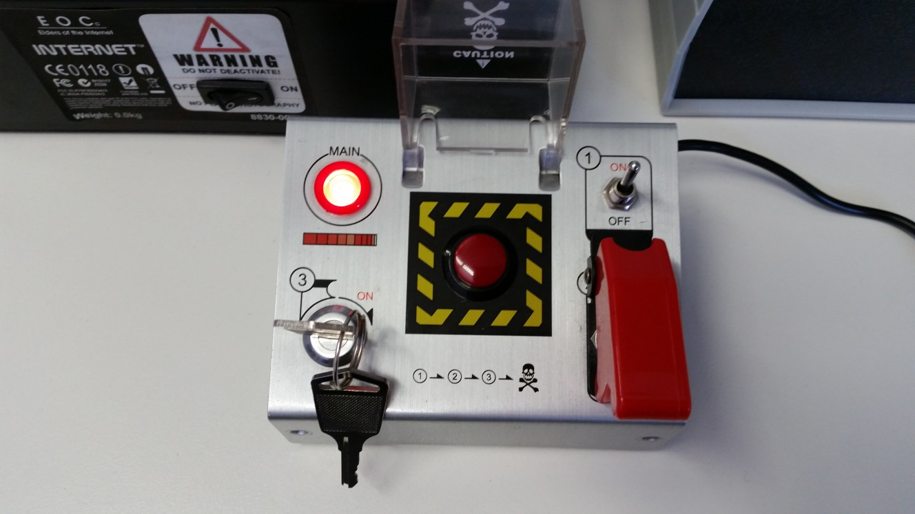 Mechanical red button on desk