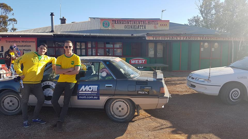 Josh and Sam in Oodnadatta during Shitbox Rally