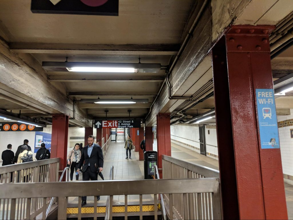 Exit signs in Subway station in NYC