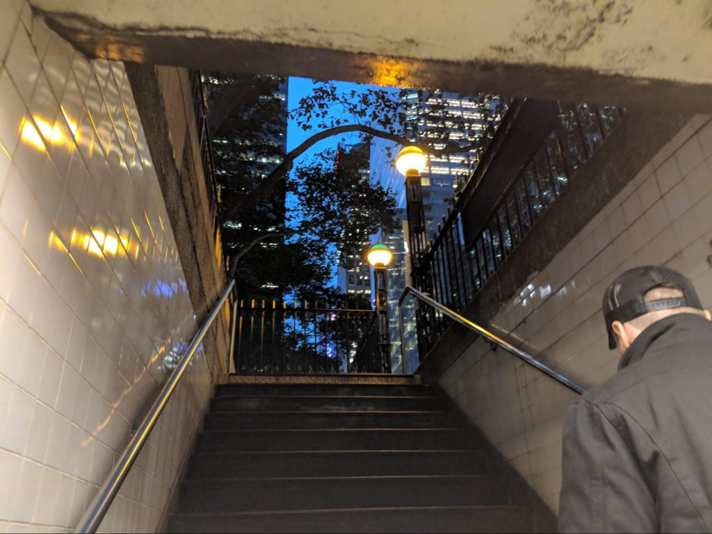 Exiting a Subway station in NYC