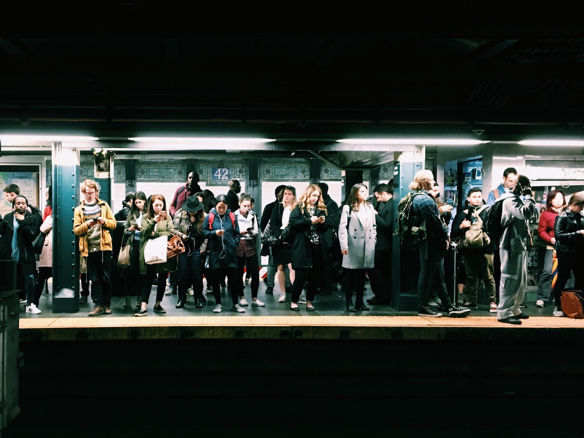 People waiting for a subway train