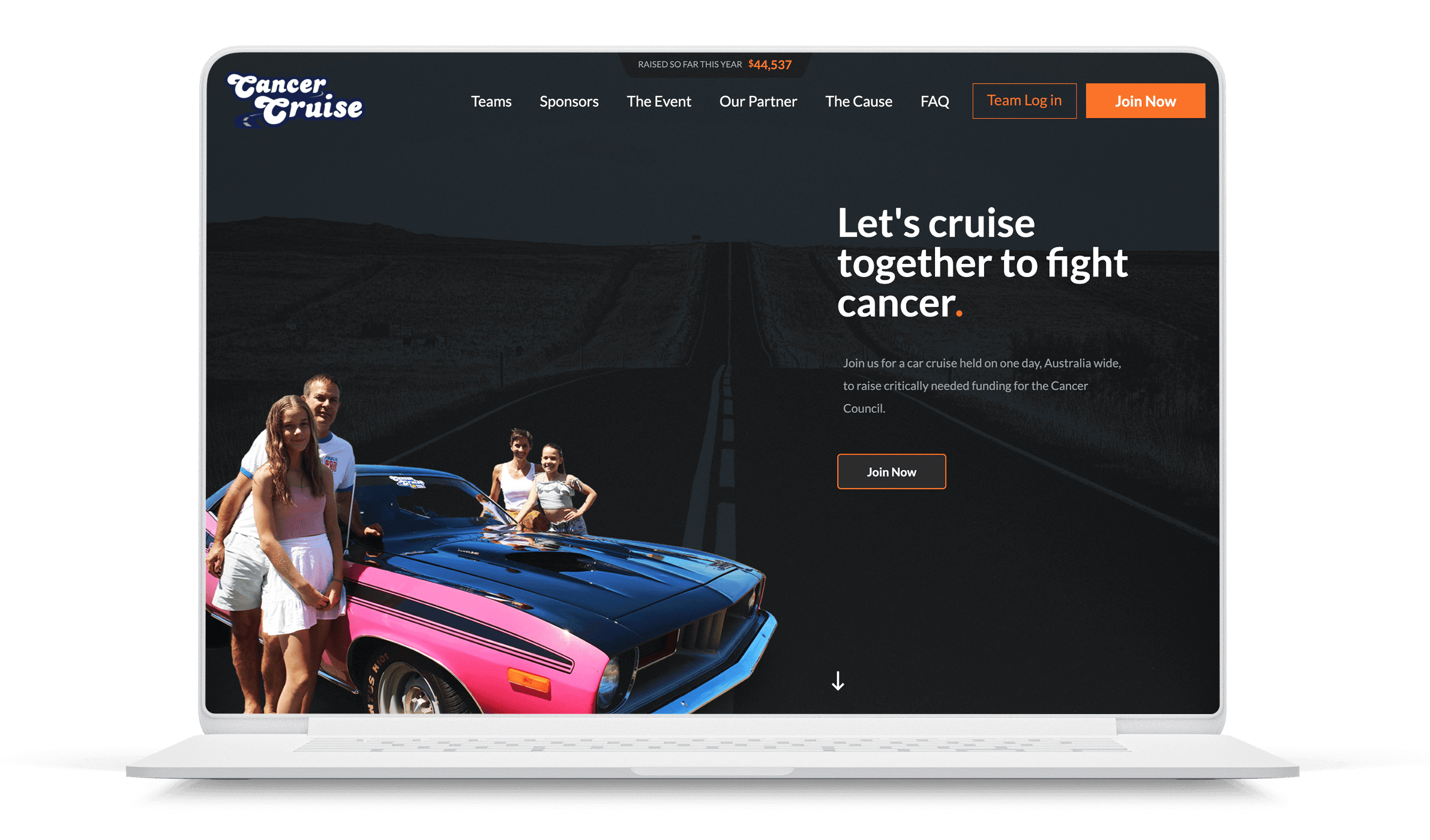 Web design for cancer fundraising site - Cancer Cruise